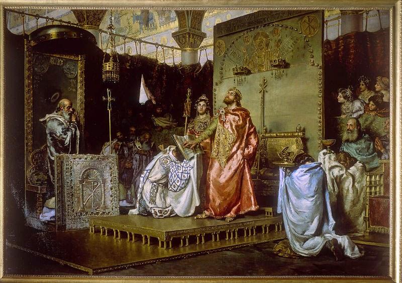 Conversión de Recaredo  I uno de los reyes Visigodos de España, del pintor español Antonio Muñoz Degrain