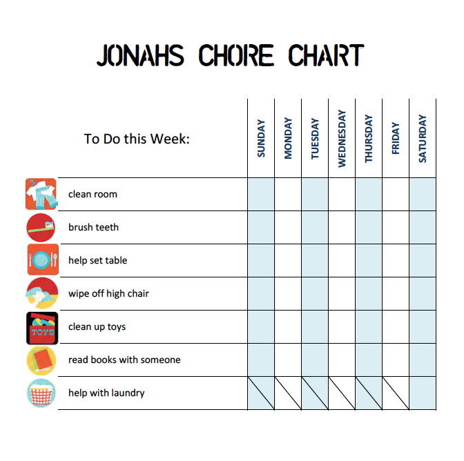 Chore Chart 5 Year Old K K Club 2017