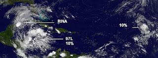 Sean, Atlantik, aktuell, Oktober, 2011, Hurrikansaison 2011, Satellitenbild Satellitenbilder, Rina,Sturm und Hurrikan: Situation im Atlantik 27. Oktober 2011