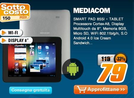 Solo online a 79 euro per i primi di maggio il tablet android Mediacom Smart Pad 855i in sottocosto
