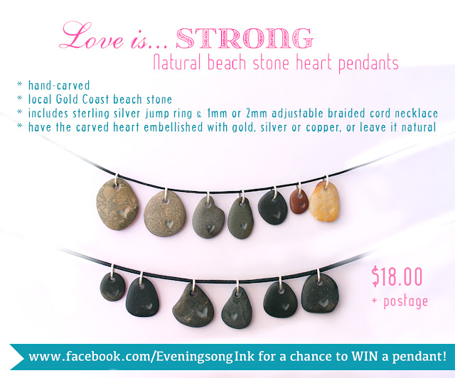 Eveningsong Ink carved beach stone pendants Valentine's Day hearts