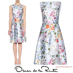 Crown Princess Victoria Style Oscar de la Renta Floral Dresses