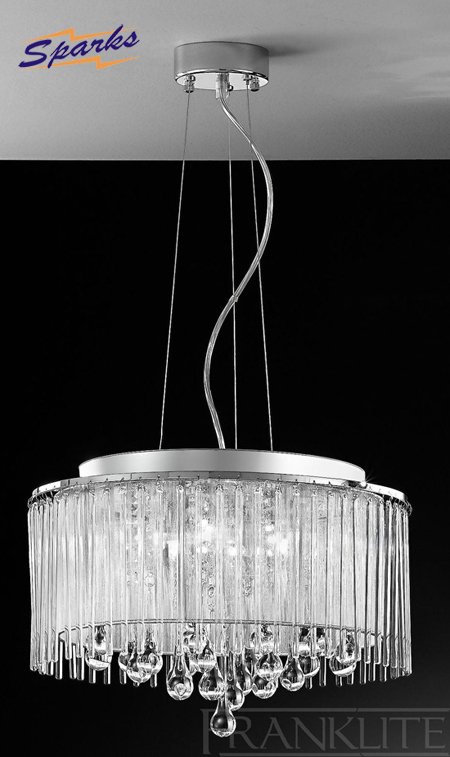 The Franklite FL2161/6 Spirit Drum Pendant, Chrome with Crystal Drops