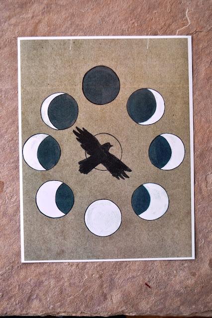 raven moon phases print