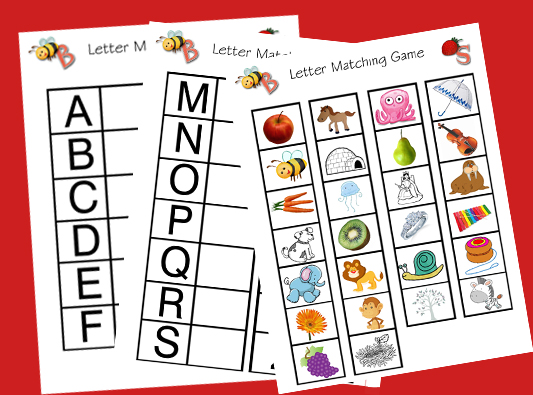 ... out the pictures and have your child match them to the letters. Fun