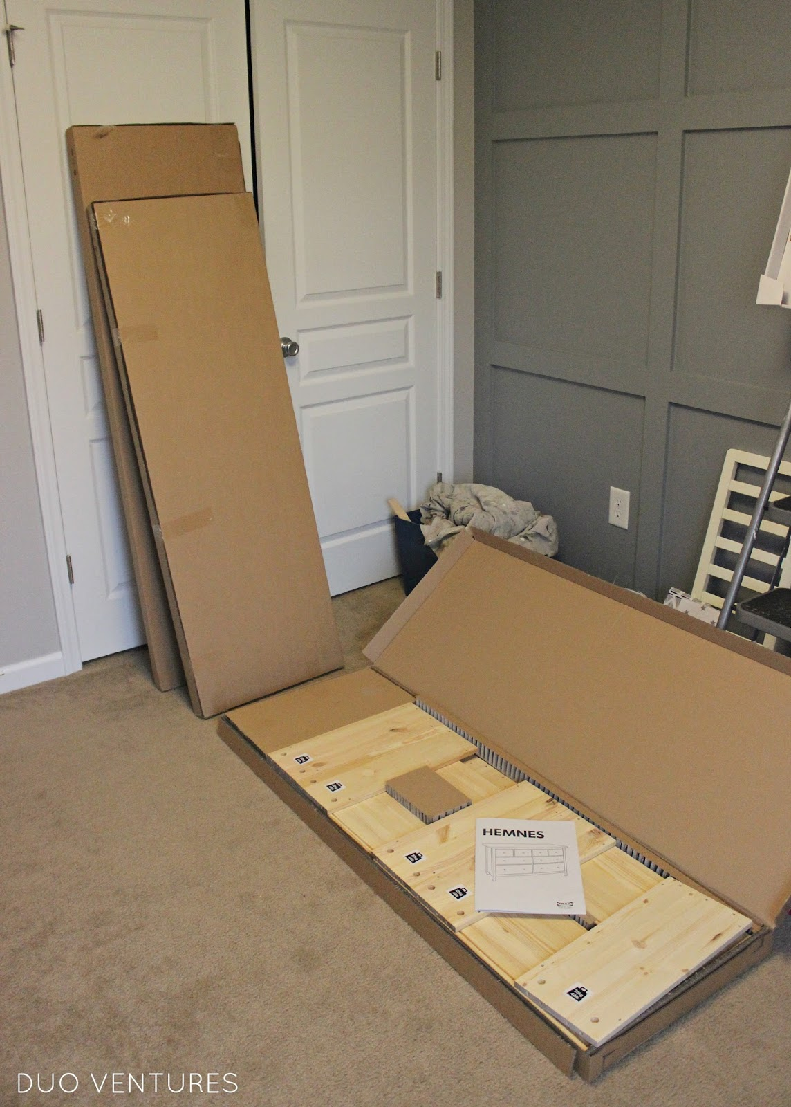 making sure you have the correct number of pieces as you go  including  the hardware   fasteners   The dresser comes in 3 separate boxes. Duo Ventures  The Nursery  Custom IKEA Hemnes Dresser