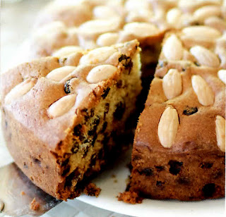 Classic Dundee cake, rich fruit cake with almond topping
