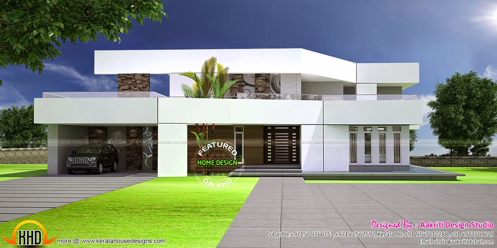 Futuristic style villa kerala home design and floor plans for Kerala style villa plans