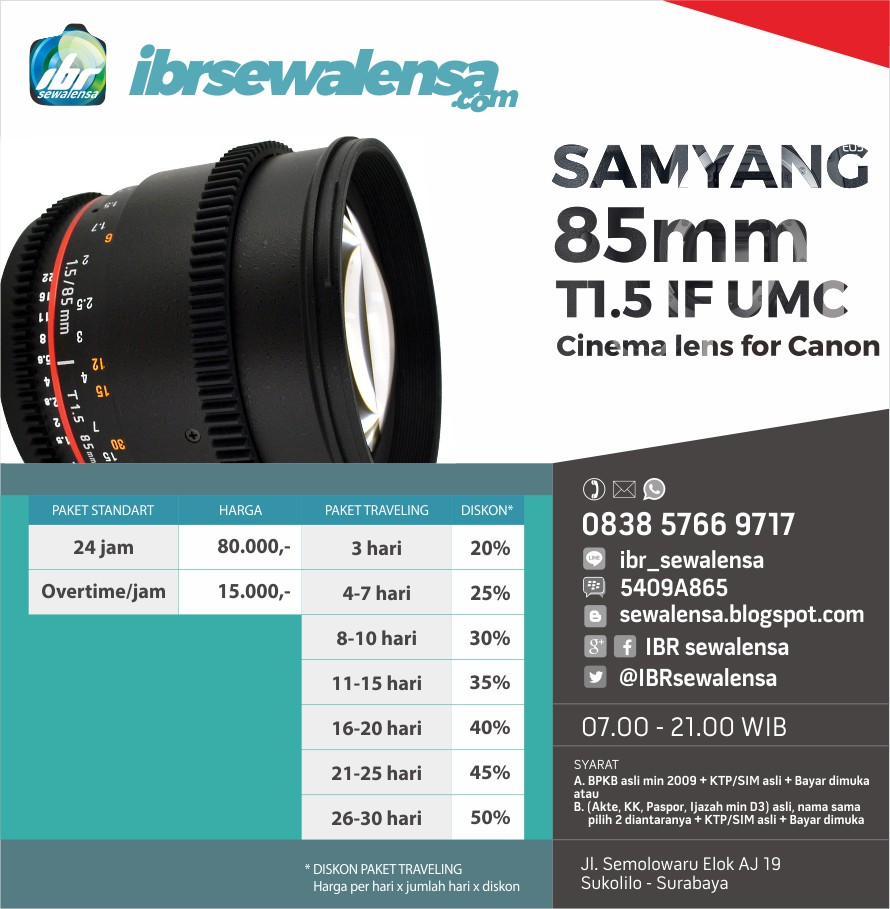 Sewa Rental lensa Samyang/Rokinon 85mm T1.5 IF UMC II VDSLR Cinema Lens for Canon