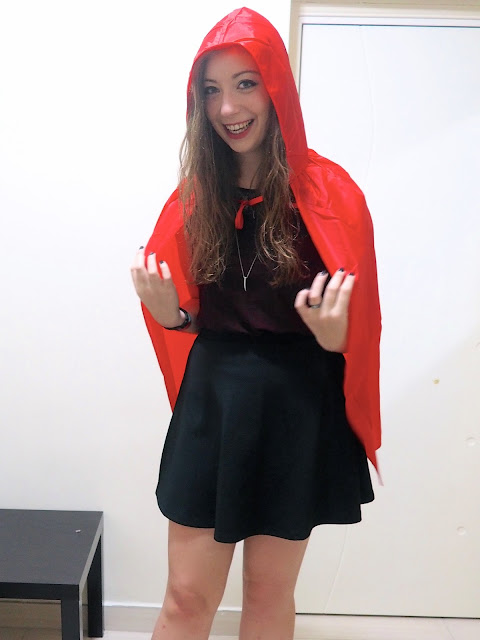 Fright Nights | Little Red Riding Hood fancy dress outfit of red hooded cape, dark red top & black skater skirt