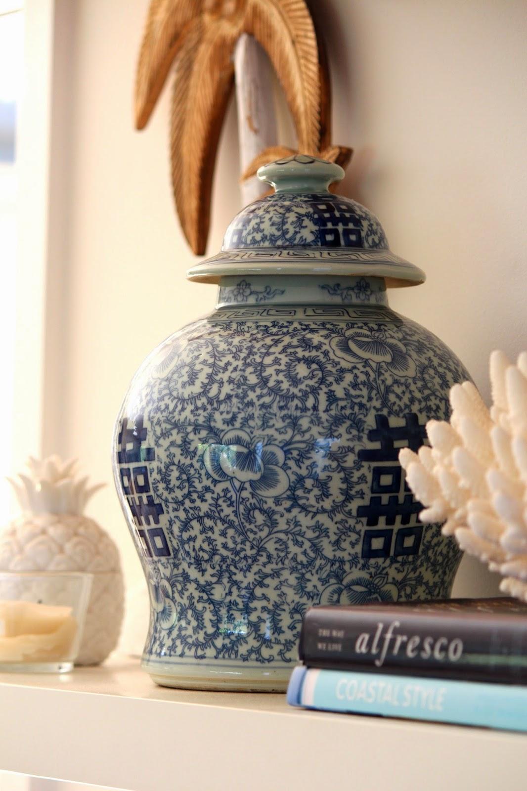 blue and white ginger jars and some coastal shelves. Black Bedroom Furniture Sets. Home Design Ideas