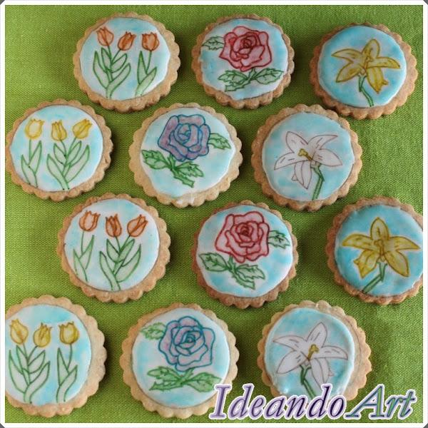 Pintando galletas con flores