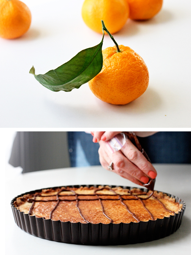 Tangerine-Almond Tart with Chocolate Drizzle