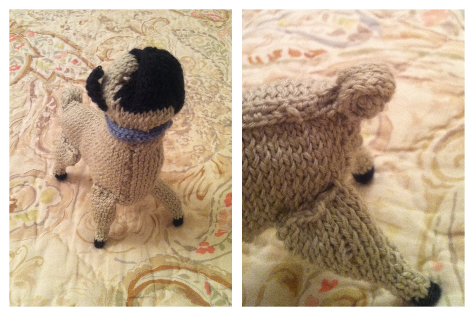 Knitted Pug Pattern : anna knits, etc.: anna knits - knit pug update 3