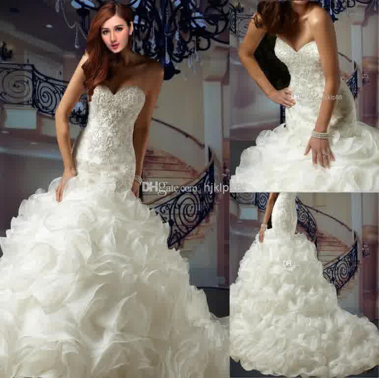 Playful mermaid wedding dresses ruffles bridal and for Ruffled mermaid wedding dress