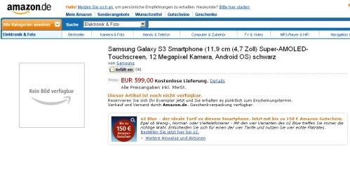 Prevendita su Amazon del Samsung Galaxy S3 a 599 euro