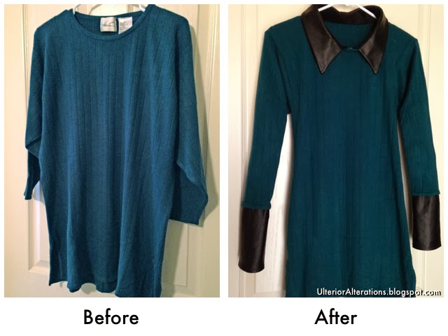 Ulterior Alterations: Refashioned Sweater with DIY Removable Leather Details