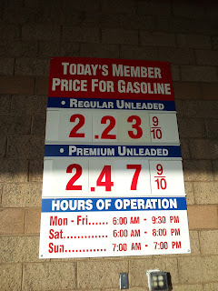 Gas prices for Jan. 25, 2015 at Costco gas station in South San Francisco, CA