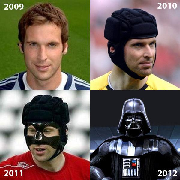 petr cech goal keeper chelsea head guard gear dark darth vader