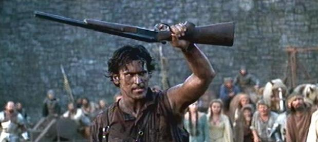 Bruce Campbell as Ash with his boomstick in Army of Darkness