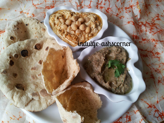 hummus, pita and baba ganoush