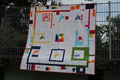 improv rainbow quilt