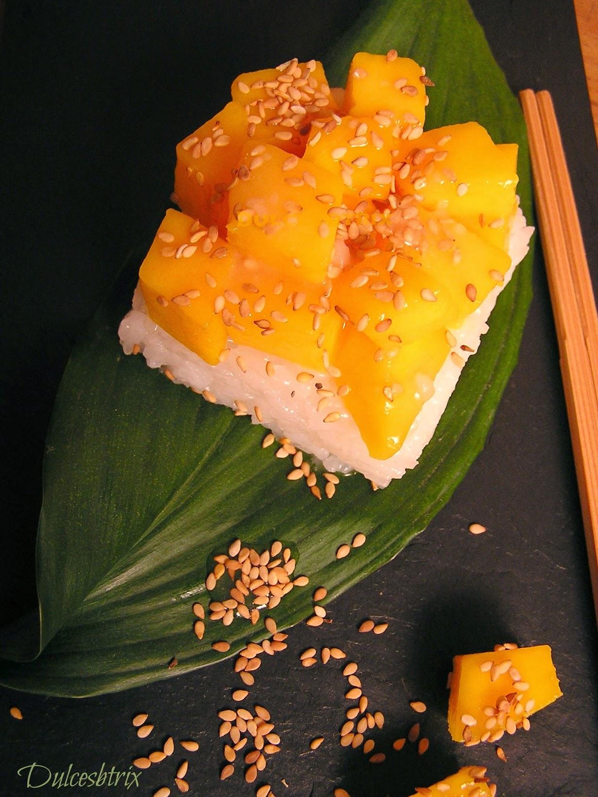 Arroz con leche de coco y mango