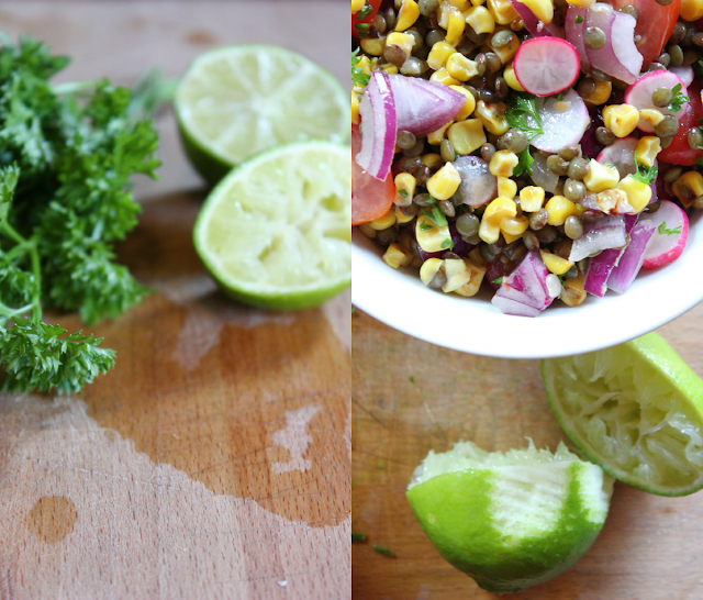 A warm vegan corn salad with lentils, fresh tomatoes, red onion and radishes. Tossed in lime juice with lots of parsley and cilantro! A picnic perfect meal.
