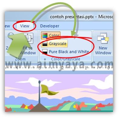Gambar:  cara membuat tampilan slide hitam putih/grayscale di powerpoint