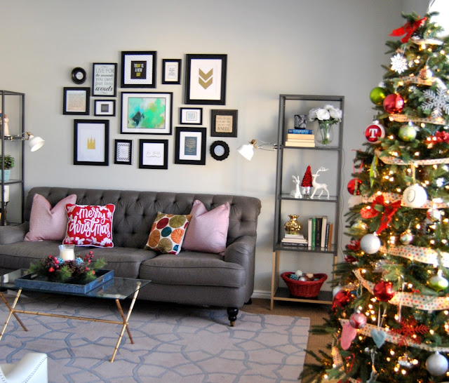 blogger, blog, blog hop, blog tour, a holiday with hear, withheart, blogger tour, holiday tour, interior design, christmas, gallery wall, red christmas, christmas decor, gray tufted sofa, gray sofa, grey, vittsjo, gold dipped, safavieh, pillows, throw pillows