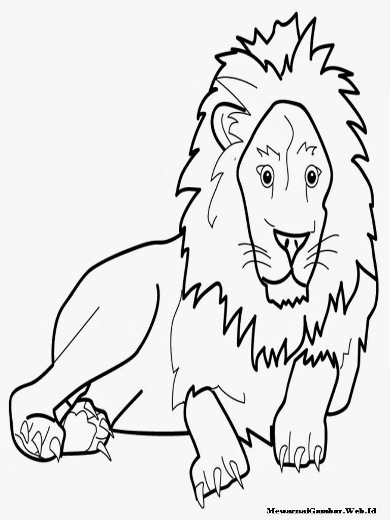 halaman mewarnai gambar singa