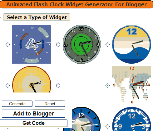 Animated Flash Clock Widget Generator For Blogger