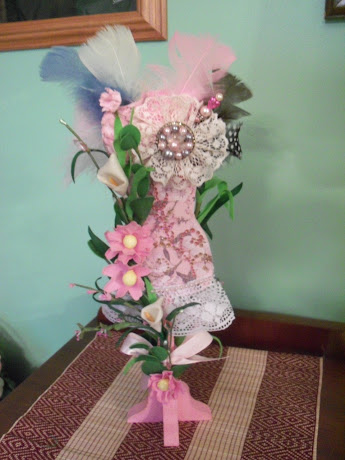 Pink Flowered Dress Form