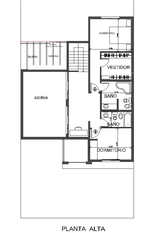 Arquitectura y dise o plano de casa de 82 metros con - Banos de 2 metros cuadrados ...