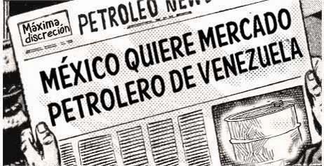 front page cómic - México y petróleo de Venezuela