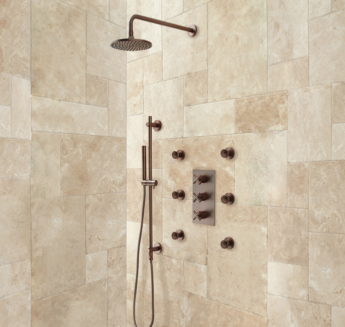 Delightful Made Of Solid Brass, This Set Comes With A Rainfall Showerhead, Six Body  Jets And A Convenient Hand Shower. It Also Features Thermostatic Technology  To Keep ...