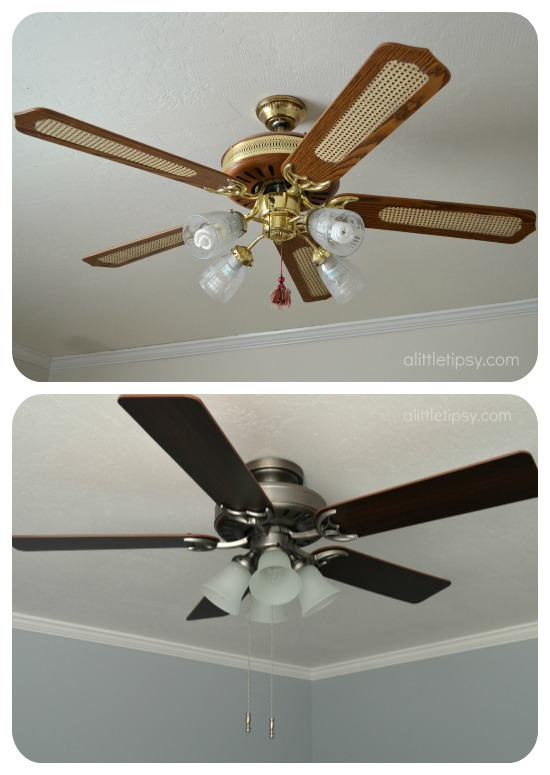 Goodbye death trap hello beauty a ceiling fan story a little tipsy the difference is grand thank heavens for the hubs who climbed up in the attic to install an extra board to anchor the fan safely aloadofball Image collections