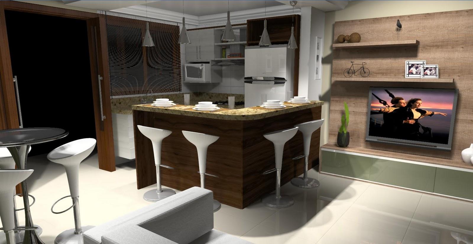 #975F34 cozinha americana e sala pequenaIdéias de decoração para casa 1600x828 px Cozinha Americana Com Bancada Para Sala_3241 Imagens