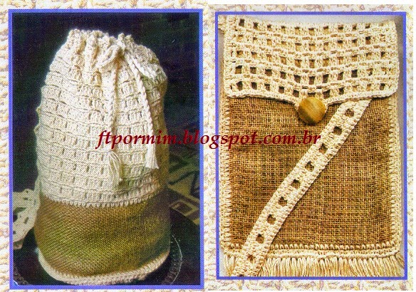 Mochila e bolsa feitas de juta e crochê de barbante