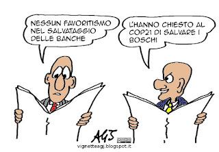 salvabanche, risparmio, banche, boschi, cop21, vignetta satira