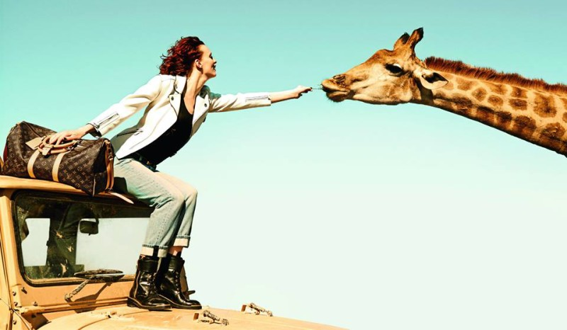 Karen Elson and giraffe for Louis Vuitton