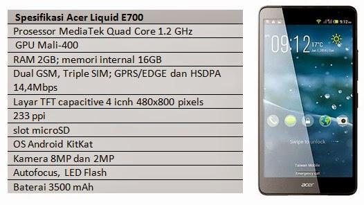 Spesifikasi Acer Liquid E700