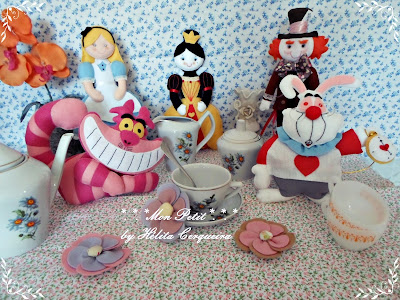 decoração aniversário-em feltro-Alice no país das Maravilhas-Alice in Wonderland-felt