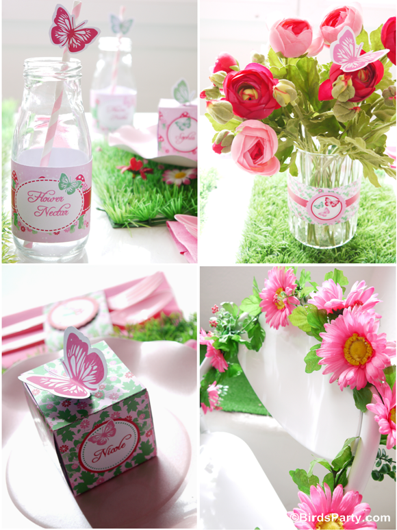 Pink Pixie Fairy Birthday Party Drinks and Printables