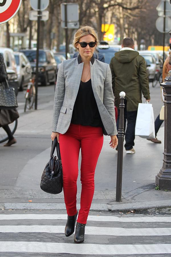 Bar Refaeli wears red pants in Paris