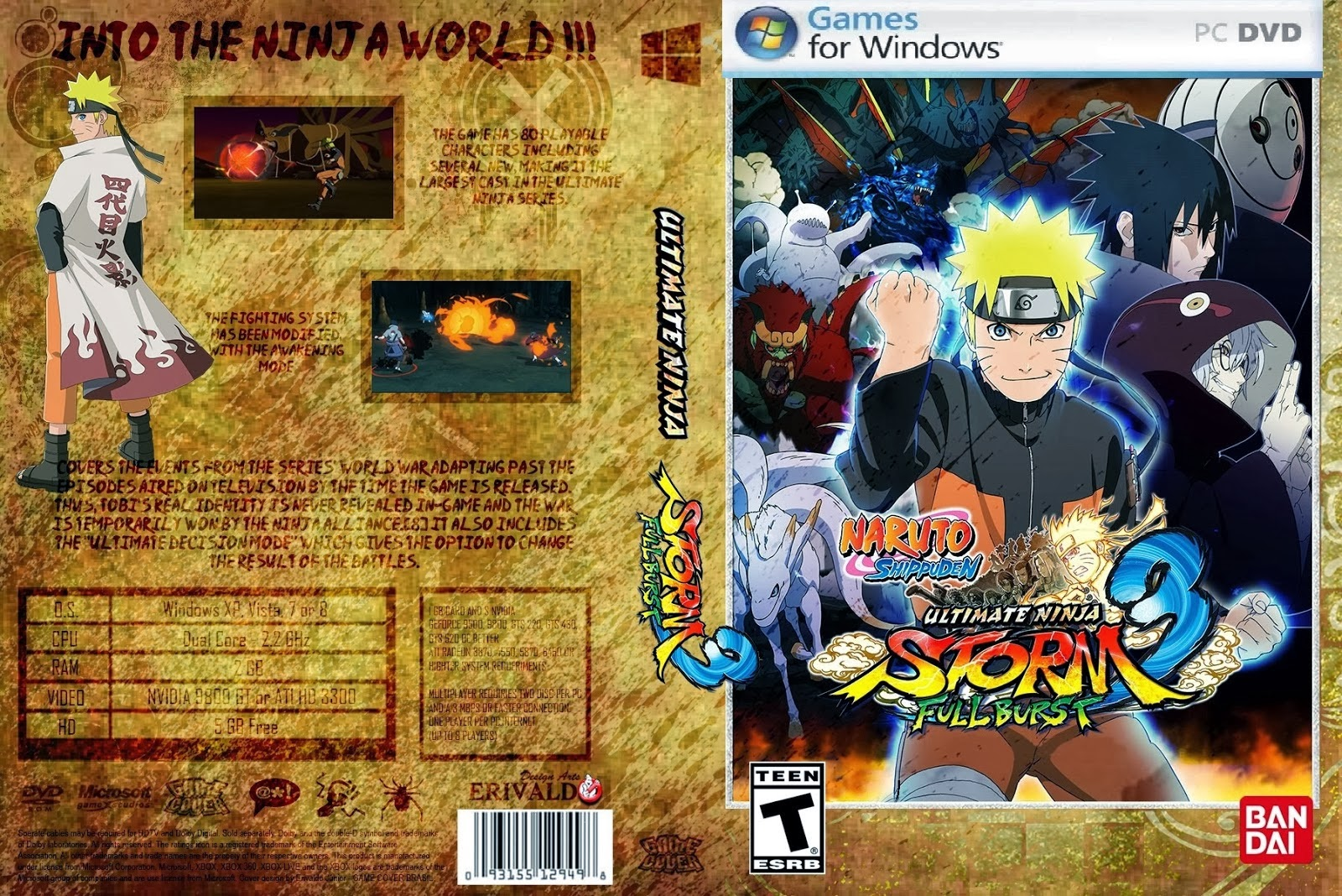 NARUTO SHIPPUDEN Ultimate Ninja STORM 3 Full Burst PC DVD Capa