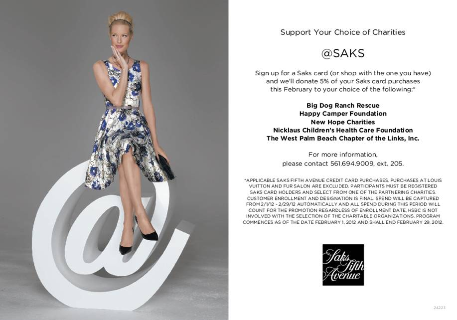 Beth Beattie Branding Pr And Events Support Your Choice Of Charities At Saks Fifth Avenue Palm