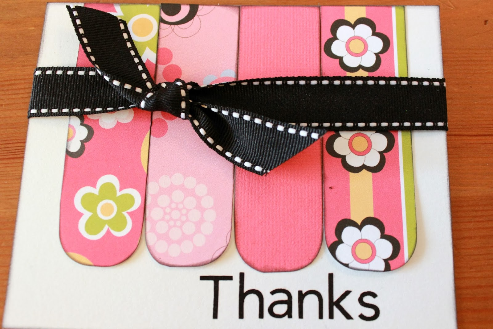 ribbon card Thanks Card Tutorial