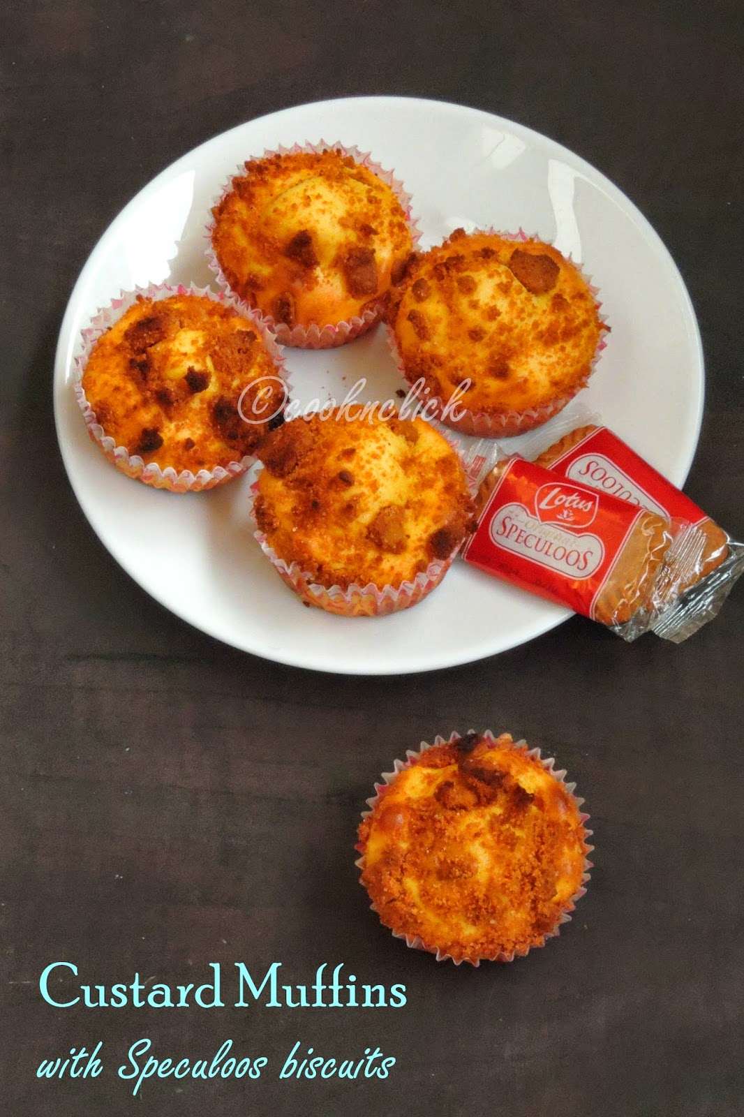 custard muffins with speculoos, Eggless custard cupcakes