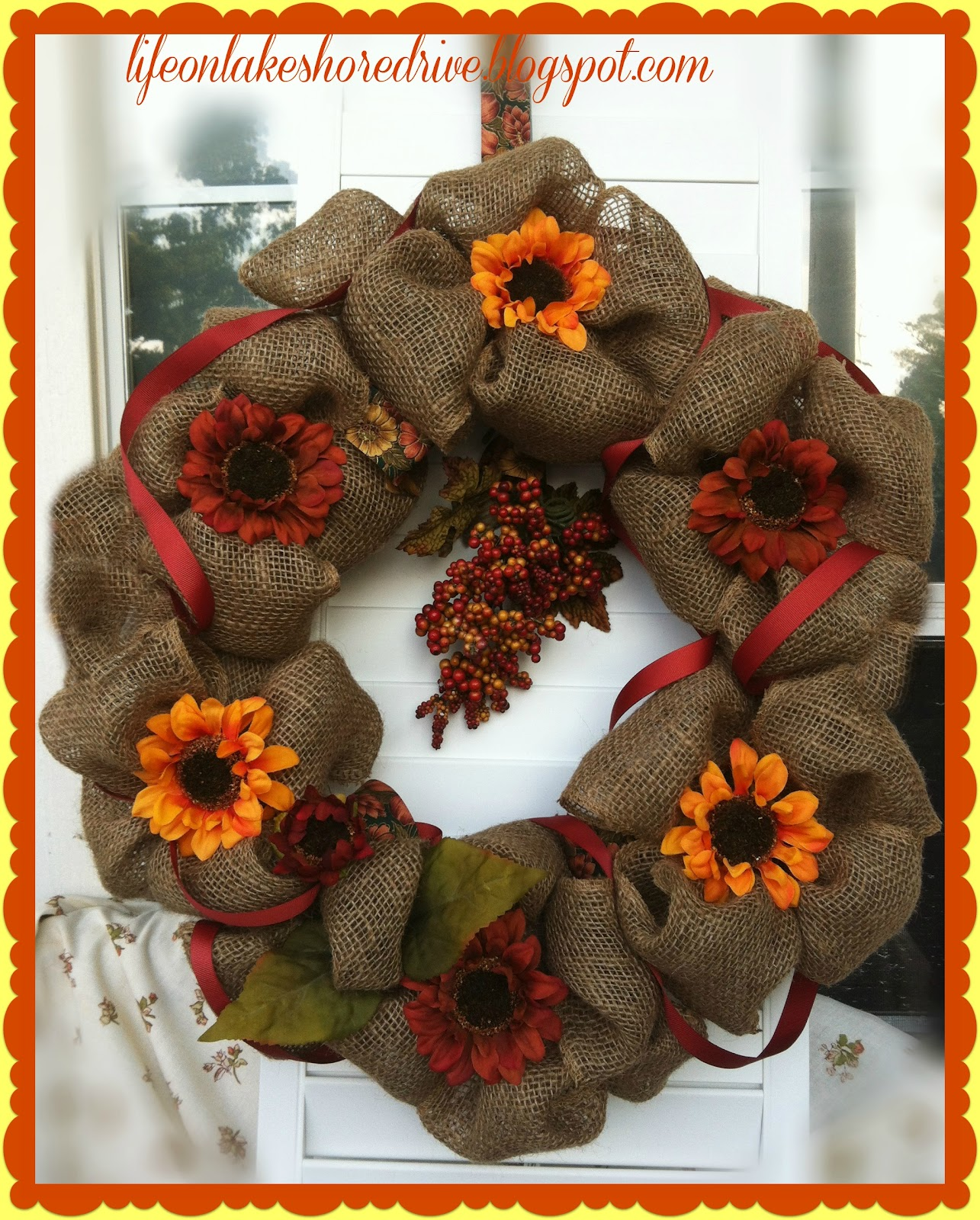 Fall Burlap Wreath Tutorial Life On Lakeshore Drive